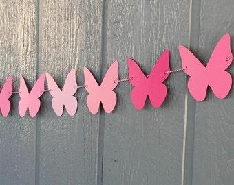 BUTTERFLY Garland, 10 feet - Shades of PINK - Birthdays, Showers, Weddings, Photo Prop