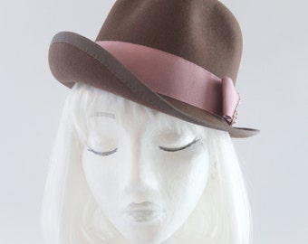 Brown Tilt Hat. Women's Fur Felt Fedora. One of a Kind Ladies Accessory with Pink Bow, Pearls. Chocolate Brown Trilby. 1940s Style Millinery