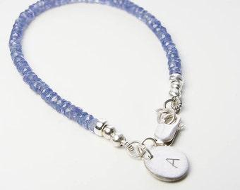 Tanzanite Bracelet, Initial Jewelry. Personalized Jewelry, Natural Tanzanite Gemstone Bracelet. Petite Charm Bracelet