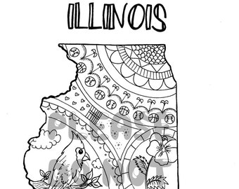 Illinois State Map Colouring Page