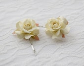 Cream Rose Hair Clips wedding hair accessories bridal hair clips cream rose pins flower hair clips rose bobby pins  set of two