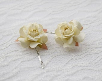 Cream Rose Hair Clips, wedding hair accessories, bridal hair clips, cream rose pins, flower hair clips, rose bobby pins - set of two