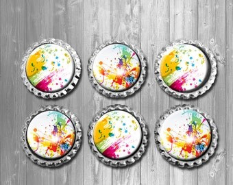 Splatter Paint Abstract Art Bottle Cap Magnets - Set of 6