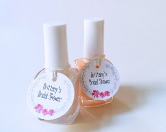 Mini nail polish tags - Custom party favor tags - Bridal Shower favor tags - Round Baby shower tags - Small polish tags (C-01)