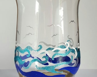 Beach themed glass hurricane vase