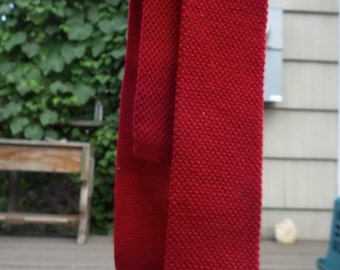 Red Vintage Skinny Knit Tie Men's gift holiday