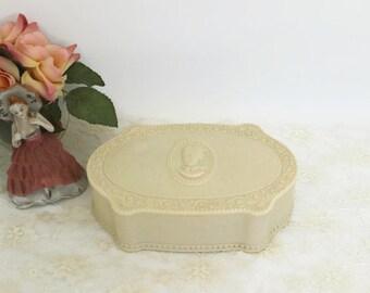 Vintage Cameo Powder Box, Luxor Celluloid Cameo Trinket Box, Vintage Vanity Dresser Box, Collectible Powder Box