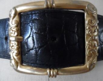Vintage 1980s Croc Embossed Leather Belt