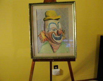 Clowning Around. Framed Clown Picture. Vintage Wall Art. Signed Lott. Are They Happy or are they Sad or Maybe Just Slowly Going Mad!