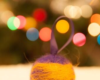 Orange and purple needle felted Christmas tree ornament