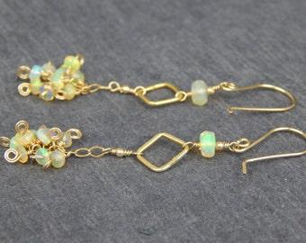 Australian fire opal earrings, dangle earring, wire wrapped earring, spiral accent, October birthstone, hand formed earring, elegant earring
