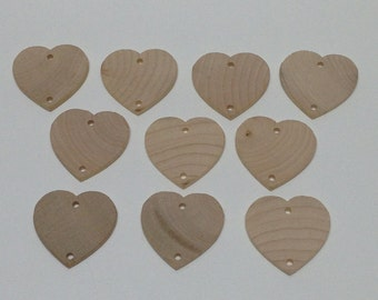 """1 1/2"""" Wood Heart Gift Tags - Set of 10 - Unfinished Wood Hearts - 1/8"""" Thick - Heart Memory Tag - Wooden Heart Tag - Wedding Tag - Wood Tag"""