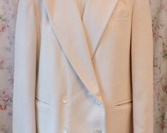 80s Cashmere Jacket Coat Blazer - Cream Ivory Winter White - Nieman Marcus Brand - Classic - Traditional - Excellent Condition - Size 10