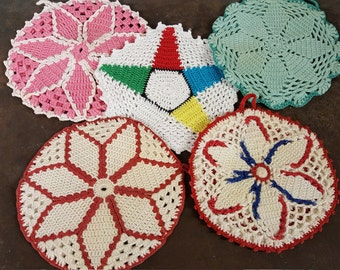 Star Bright Vintage Hot Pads trivets Hand Crochet Cotton