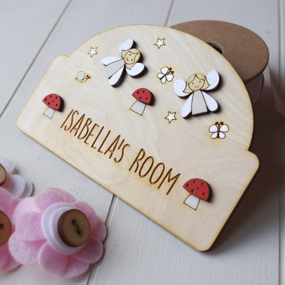 Personalised Fairy door plaque - Girls door sign - Girls name plaque - new baby gift