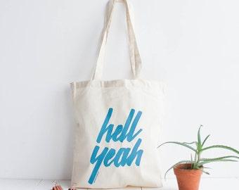 Tota bag cotton natural / screen print blue / hand lettering