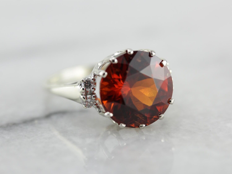 Ember Orange Hessonite Garnet Morgan Cocktail Ring by