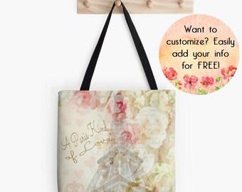 French Eiffel Tower Custom Designer Tote Bag, Paris Purse, Romantic Pastel Market Bag, Parisian style Bag, Ivory Pink Pastel, Gift for Her