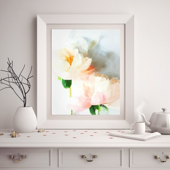 Blush Pink Bathroom Decor : Blush pink rose watercolor fine art print wall poster