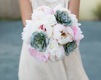 Silk Wedding Succulent Bouquet - Green Gray Pink and Blush Peonies Silk Flower Bride Bouquet