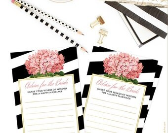 Pink Hydrangeas Advice for the Bride Cards - Black & White Stripes Advice for the Bride Cards - DIY Printable File - Instant Download