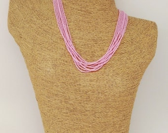 Pink seed bead necklace, baby pink necklace, light pink necklace, powder pink necklace, pink beaded necklace, beaded necklace, pink