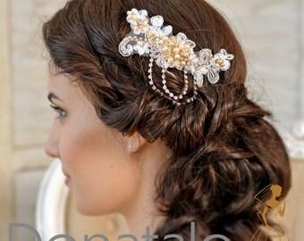 Bridal hair Comb, Bridal Headpiece gold ,Wedding Hair comb, Wedding Accessories ,Wedding Hair Piece -  ANASTAISE