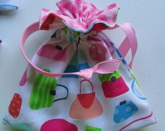 Party Favor Lined Drawstring Gift Bag Purse Theme