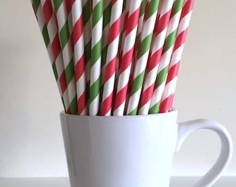 Red and Green Striped Paper Straws Christmas Party Supplies Party Decor Bar Cart Cake Pop Sticks Mason Jar Straws Graduation