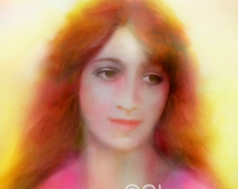 MARY MAGDALENE, Spiritual Angelic painting, Large A3 Signed Giclee Print Angel Art by Glenyss Bourne
