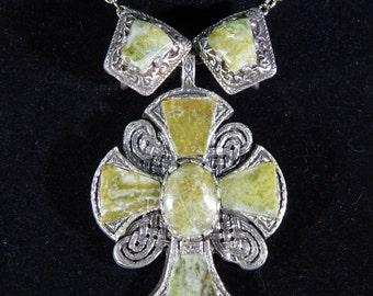 Vintage Celtic Cross and Earrings by Miracle with Connemara Marble - Made in Britain - Demi Parure - Necklace, Clip Earrings