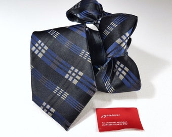 Silk Tie in Plaid with Blue Black Brown Silver and Canary Yellow