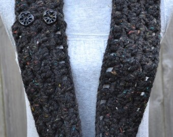 Black Multi Colored Chunky Cowl with Buttons Crochet Ready to Ship
