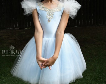 Cinderella Dress, Blue & White Couture Princess Dress, Birthday Party, Tulle Dress, Made to Order