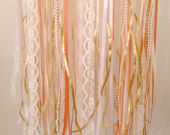 Ribbon Mobile, Lace Mobile, Fabric Mobile, Baby Girl Mobile, Pink and Gold Mobile