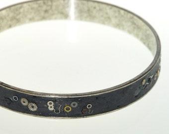 Gizmo in Black Steampunk Bangle Bracelet