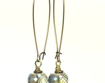 Blue-Green AB Faceted Glass Drop Earrings