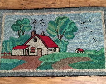 Hand Hooked Rug, Antique Handmade Wool, Cottage Home Arts & Crafts Period,  25  x 44