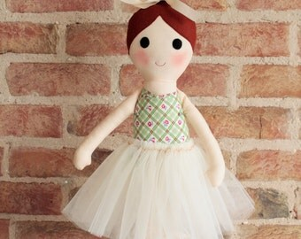 "Fabric ballerina rag doll - personalised cloth doll - Alice 18"" ballerina rag doll with removable tutu - handmade in Ireland"