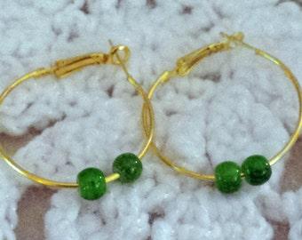 Green Bead Earring Hoops. (E 469)