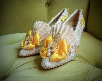 Outlander Inspired Marie Antoinette Heels Shoes Yellow Satin Rococo Baroque Costume Ivory Lace Bridal Gold Pearl Fantasy Wedding Cosplay