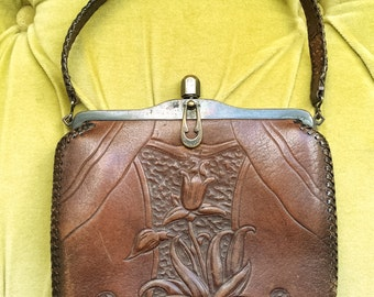 Antique Vintage Art Nouveau Leather Purse Brown Tooled Floral Deco Suede & Leather Handbag 1910's 1920's Edwardian Turnloc Bag Flapper RARE