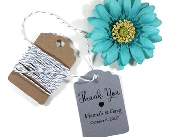 Grey Wedding Gift Tags set of 20 - Personalized Grey Wedding Favor Tags - Dark Grey Custom Favors - Personalized Thank You Tags Charcoal