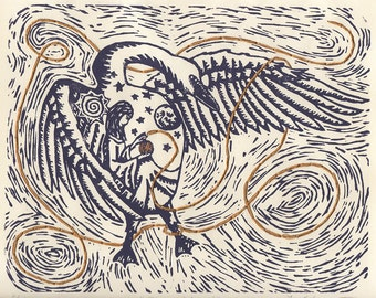 Prinz Schwan: ORIGINAL linoleum relief Print; swan, sun, moon, stars, grimms fairy tale, woman, embroidery, thread