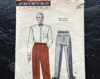 Vintage 1950 Men's Tailored Pants Pattern // Butterick 5545, size 34 waist > slacks, missing 2 sm band pcs > smoking model