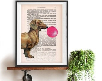 Burlesque Daschund Print, Animal with Bubblegum, Daschund Artwork, Daschund Decor, Gift for Christmas, Pink, Wall Art Prints, Office Decor