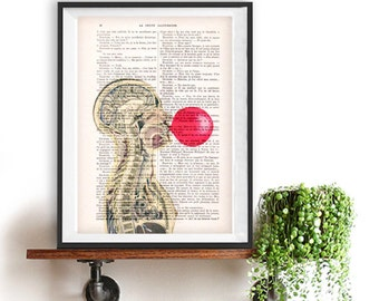 Funny anatomy print, blowing bubblegum, Digital Print on 1900 vintage page, Anatomy Illustration, human anatomy art, anatomy drawing