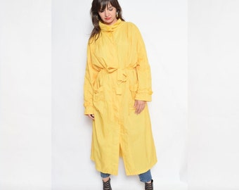 Vintage 80's Yellow long Raincoat / Yellow Button Raincoat / Belted Maxi Coat
