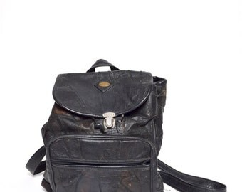 Vintage 90's Black Patchwork Leather Backpack