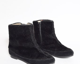 Vintage 90's Real Fur Boots with Zipper